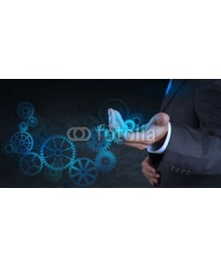 everythingpossible, businessman hand touch blue gear to success concept