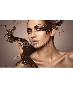 alexbutscom, portrait of woman with chocolate splash