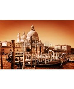 Photocreo Bednarek, Venice, Italy. Gondolas on Grand Canal and the Salute basilica