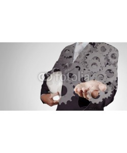 everythingpossible, Double exposure of businessman hand with gear to success concept