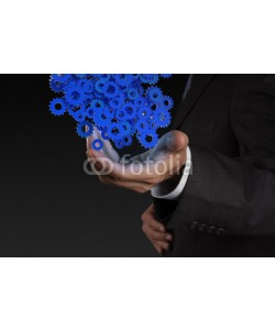 everythingpossible, businessman hand showing gears cogs to success concept