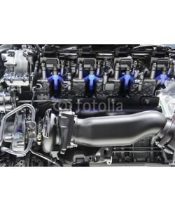 antonmatveev, Powerful engine with blue lights of automobile race motor