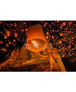 anekoho, Thai people floating lamp in Ayuthaya historical park