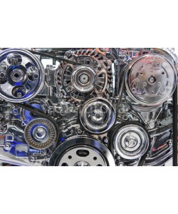antonmatveev, Engine with metal and chrome parts of sport car motor