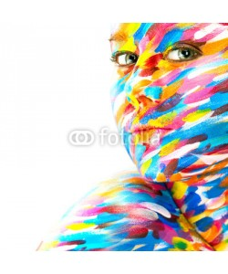 Mykhailo Orlov, Portrait of the bright beautiful girl with art colorful make-up