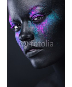 alexbutscom, woman in black paint and colourful powder