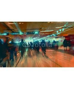 grandfailure, digital painting of motion blurred people walking in the terminal