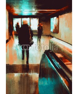 grandfailure, digita painting showing rear view of city people urban scene abstract background