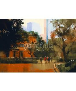 grandfailure, urban scene with people.digital painting