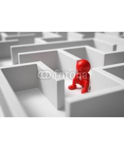 fotomek, 3d Männchen rot im Labyrinth