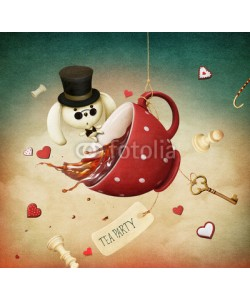 annamei, Illustration of fantasy with red cup of tea and  rabbit