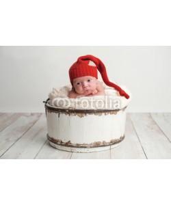 katrinaelena, Newborn Baby Boy Wearing a Red Stocking Cap