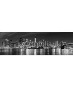 MaciejBledowski, Black and white New York City at night panoramic picture, USA.