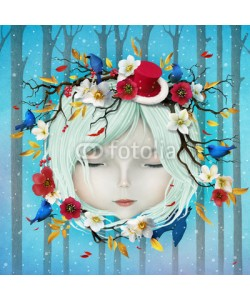 annamei, Greeting holiday card with Christmas and New Year with  head of girl and flowers