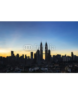 farizun amrod, Silhouette building of KLCC Twin Towers with sunrise background