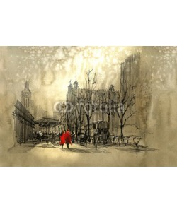 grandfailure, couple in red walking on street of city,freehand sketch