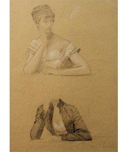 Gustav Klimt, Zwei Studien einer an einem Tisch sitzenden jungen Frau