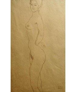 Gustav Klimt, Stehender weiblicher Akt nach links, die Hand in die…