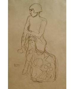 Gustav Klimt, Sitzender Halbakt nach links