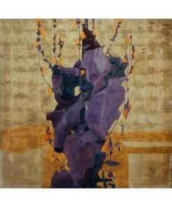 Egon Schiele, Stilisierte Blume vor dekorativem Hintergrund
