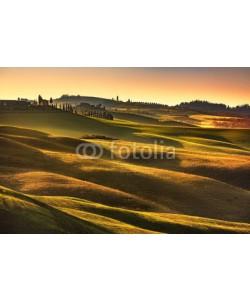 stevanzz, Tuscany spring, rolling hills on sunset. Rural landscape. Green