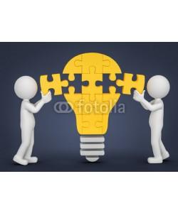 fotomek, 3d Münnchen Puzzle Glühbirne Idee
