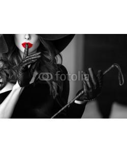Bild mit Rahmen, sakkmesterke, Sexy woman in hat showing no talk selective coloring, Alu schwarz glänzend, Folie