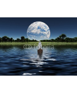 rolffimages, Figure in white robe in boat with blue Planet on the horizon