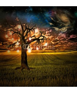 rolffimages, Bulb tree of ideas with surreal space background