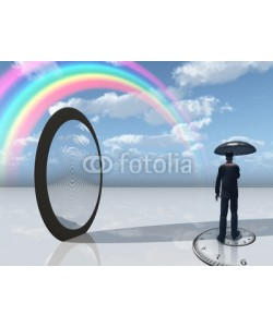 rolffimages, man with umbrella and mirror opening