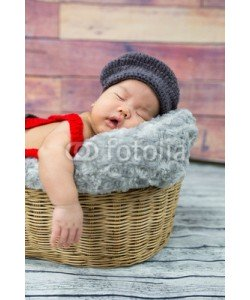 converse677, 6 week old newborn boy sleeping in a basket