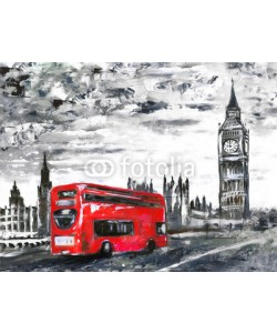 lisima, oil painting on canvas, street view of london, bus on road. Artwork. Big ben.