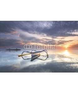 farizun amrod, Traditional Balinese boat Jukung at Sanur beach in the morning in Bali, Indonesia
