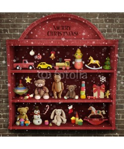 annamei, Holiday greeting card for Christmas or New Year with  showcase of toys