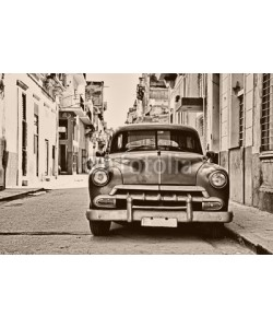 javigol860101, Sepia toned vintage classic american car parked in a street of O