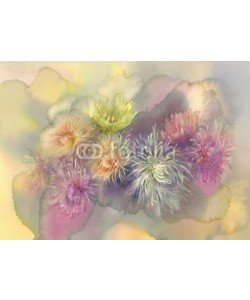 Egle, asters pastel bouquet watercolor