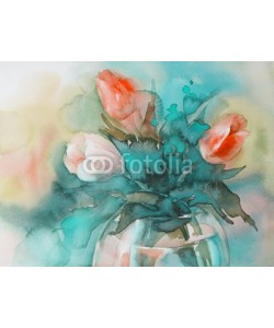 Egle, red tulips on green background watercolor