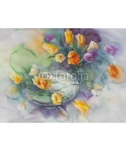 Egle, color tulips on green violet background watercolor