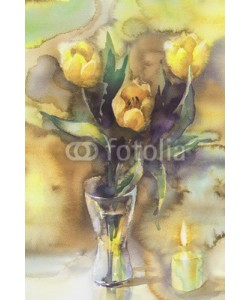 Egle, yellow tulips with candle watercolor