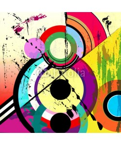 Kirsten Hinte, abstract circle background, retro/vintage style with paint strok