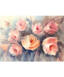 Egle, roses orange bouquet watercolor