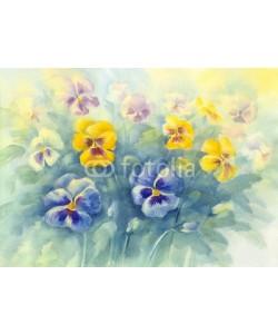 Egle, bouquet of violas green background watercolor