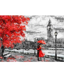lisima, oil painting on canvas, street of london. Artwork. Big ben. man and woman under an red umbrella. Tree. England. Bridge and river