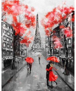 lisima, Oil Painting, Paris. european city landscape. France, Wallpaper, eiffel tower. Black, white and red, Modern art. Couple under an umbrella on street