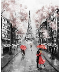 lisima, Oil Painting, Paris. european city landscape. France, Wallpaper, eiffel tower. Modern art. Couple under an umbrella on street