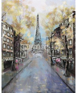 lisima, Oil Painting, Paris. european city landscape. France, Wallpaper, eiffel tower. Modern art.  street