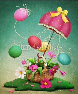 annamei, Holiday greeting card for Easter with eggs on the ropes, umbrella and basket of flowers