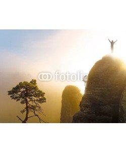 Visions-AD, Bergsteiger auf dem Gipfel in Siegerpose