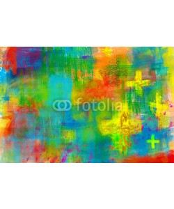 t0m15, Abstract artistic christian religious modern background in bright colors, with crosses