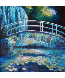 shvets_tetiana, Original oil painting on canvas - Bridge through a pond with water lilies